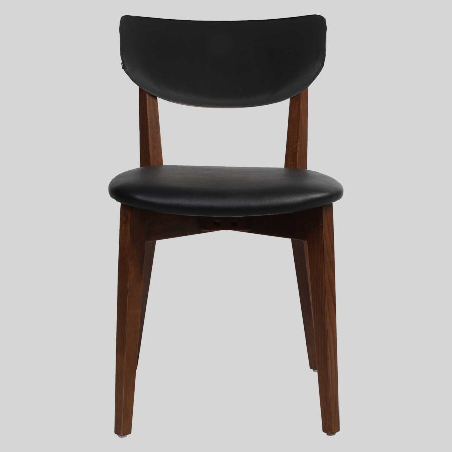 Romano Side Chair - Walnut with Black Vinyl Seat and Backrest
