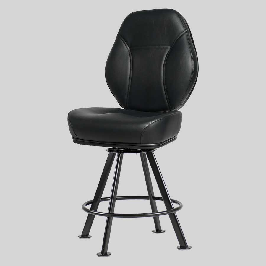 Diamond Gaming Stool - Black Seat, Black 4-way Frame