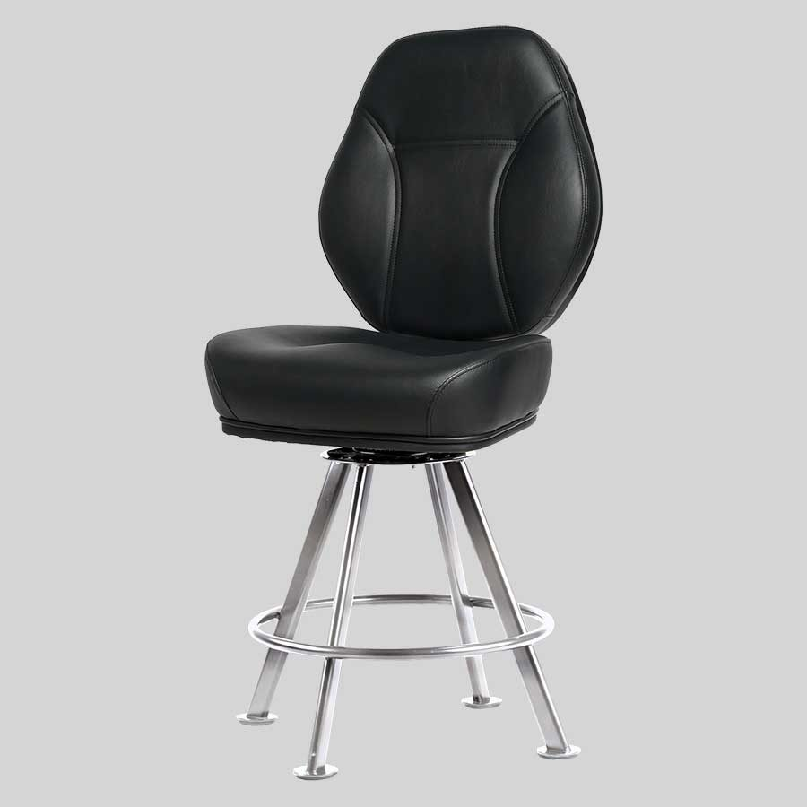 Diamond Gaming Stool - Black Seat, Chrome 4-way Frame