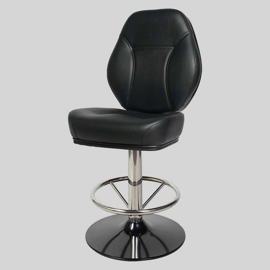 Diamond Gaming Stool - Stainless Steel and Black Disc Base, Black Seat