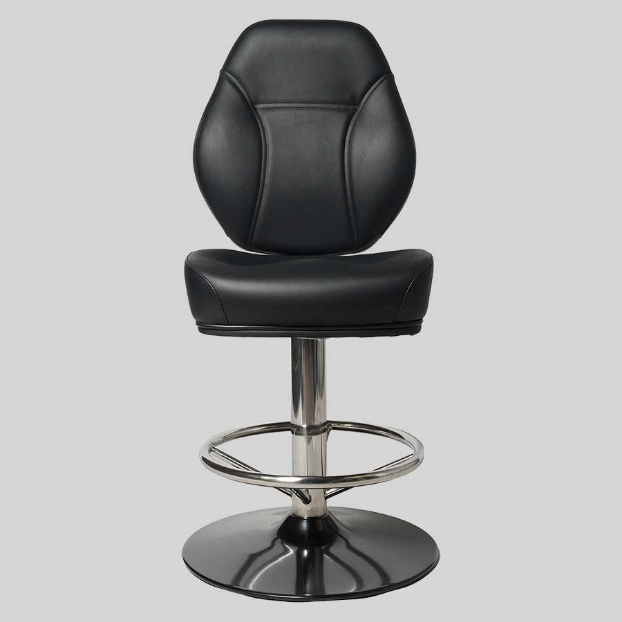 Diamond Gaming Stool - Stainless Steel and Black Disc Base, Black Seat