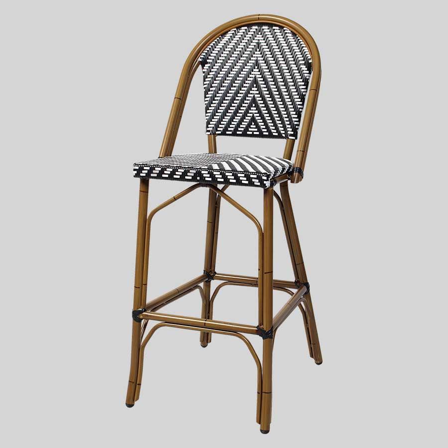 Jasmine Barstool with Backrest - Chevron Weave - Black & White