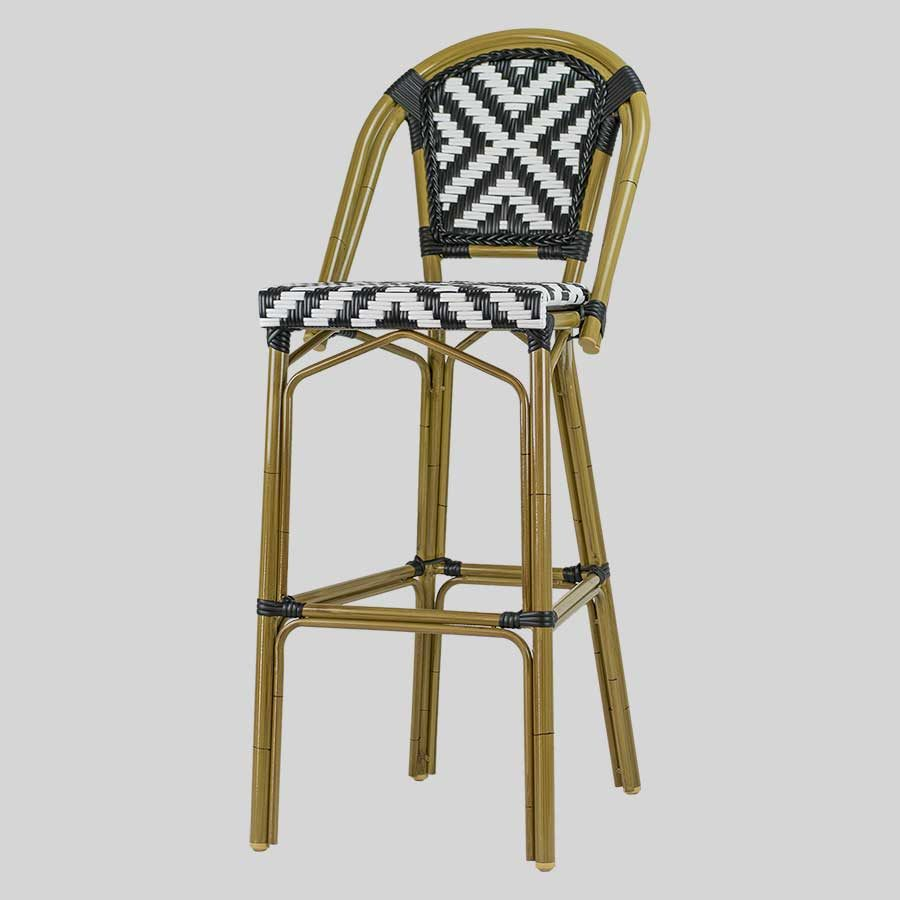 Jasmine French Bar Stools - Cross-Weave - Black/White