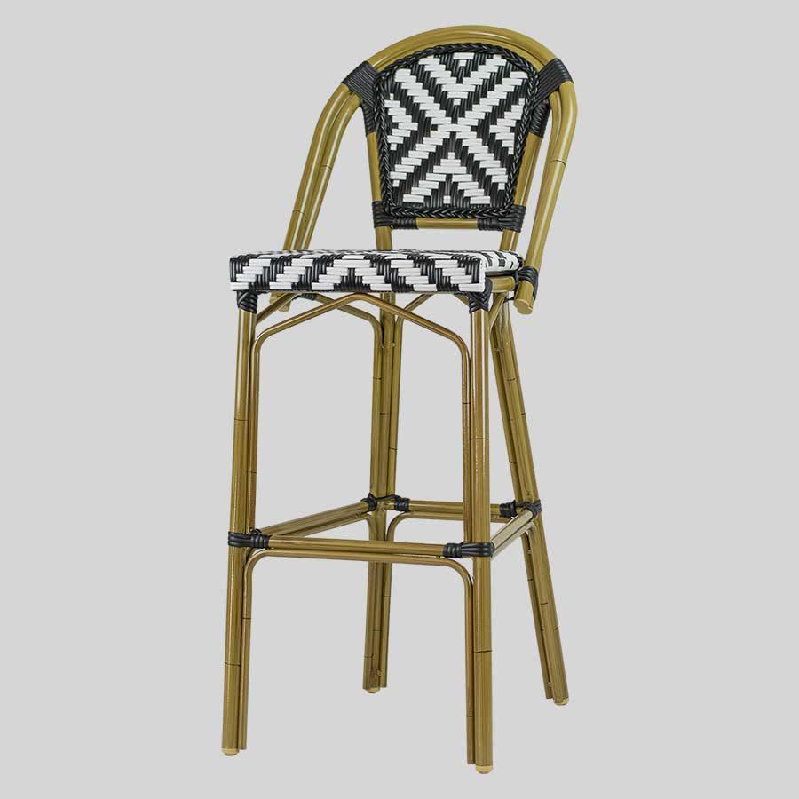 Jasmine French Bar Stools - Cross-Weave - Black/White