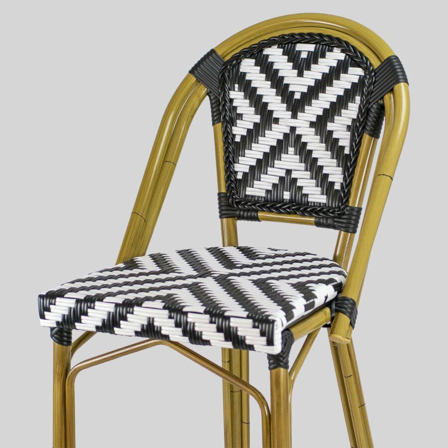Jasmine French Bar Stools - Cross Weave - Black/White