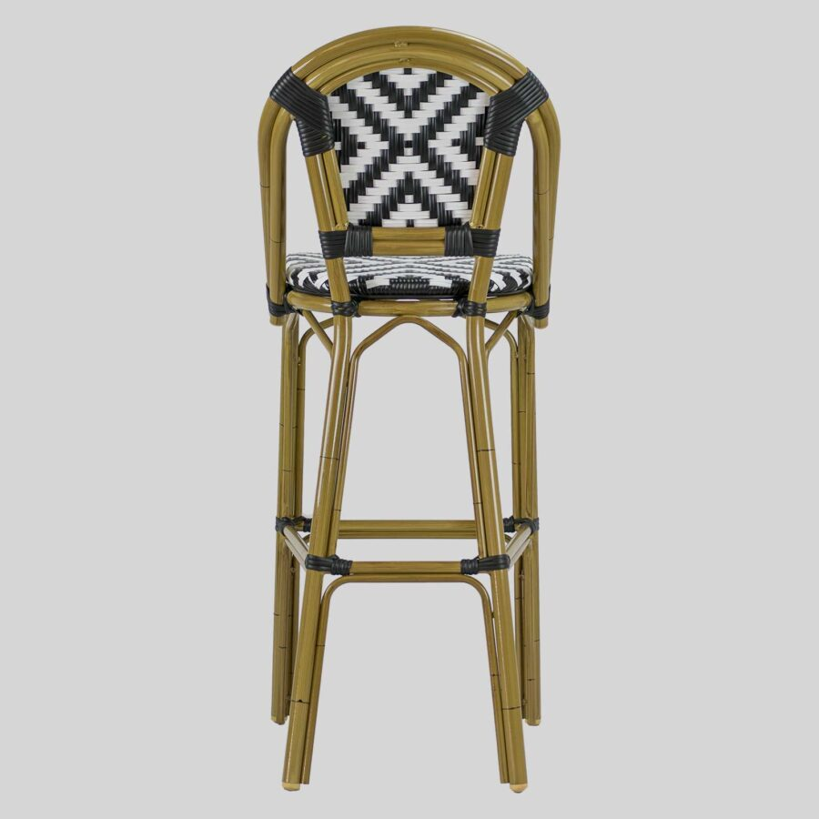 Jasmine French Bar Stools - Cross Weave - Black/White