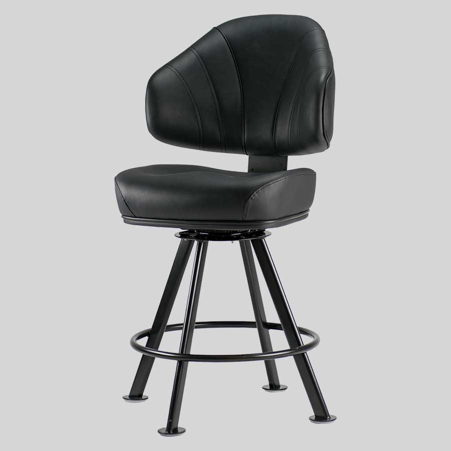 Stirling Gaming Stool - Black Seat, Black 4-way Frame