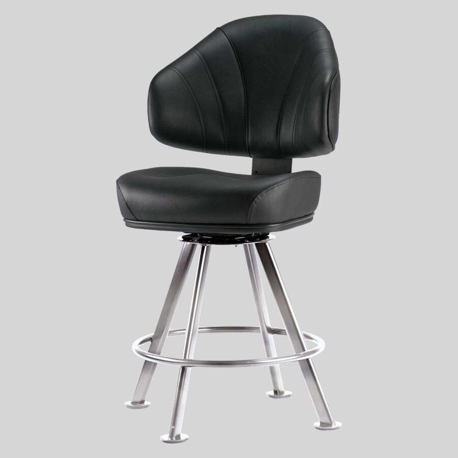 Stirling Gaming Stool - Black Seat, Chrome 4-leg Frame