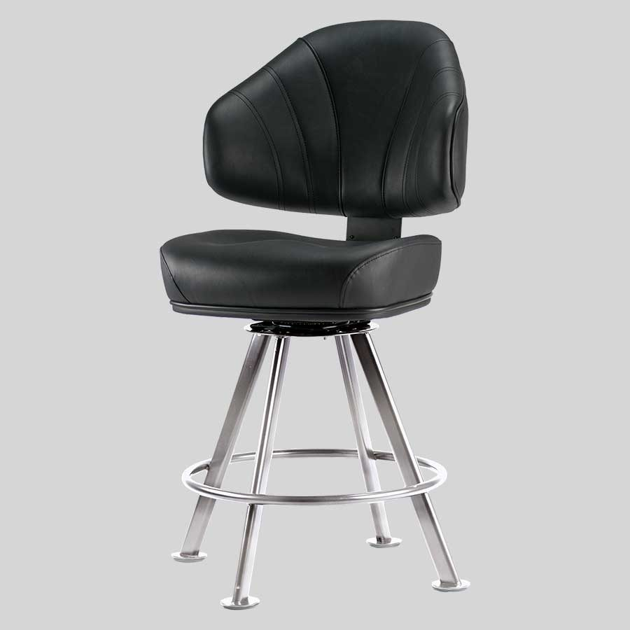 Stirling Gaming Stool - Black Seat, Chrome 4-leg Frame