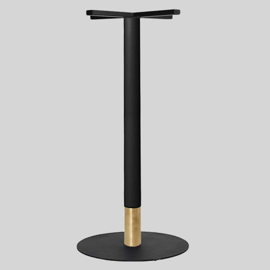 Carlita Bar - Black Column, Brass Collar, Black Table Base