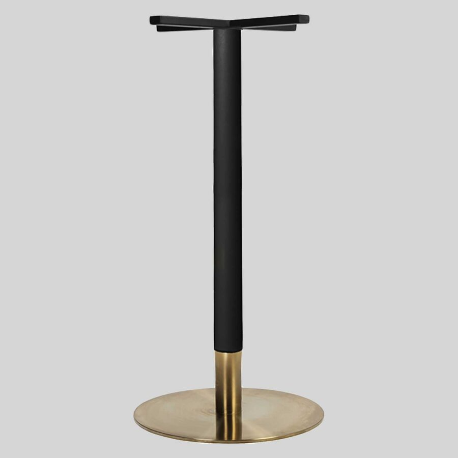 Carlita Bar - Black Column, Brass Collar, Brass Table Base