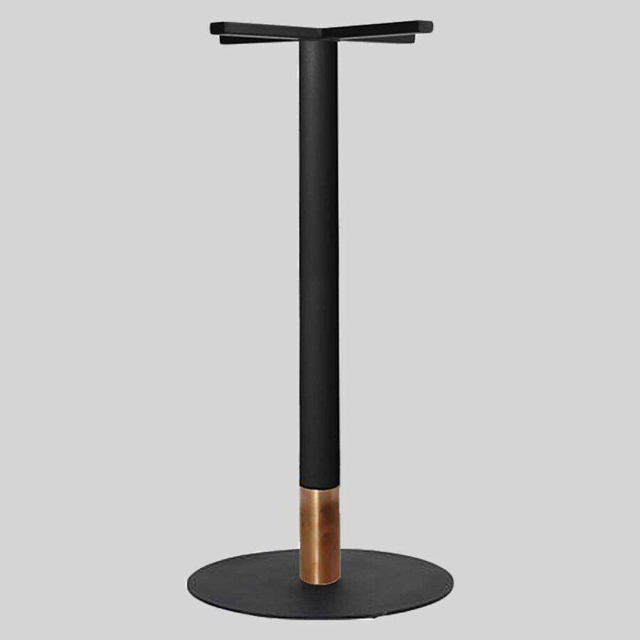 Carlita Bar - Black Column, Copper Collar, Black Table Base