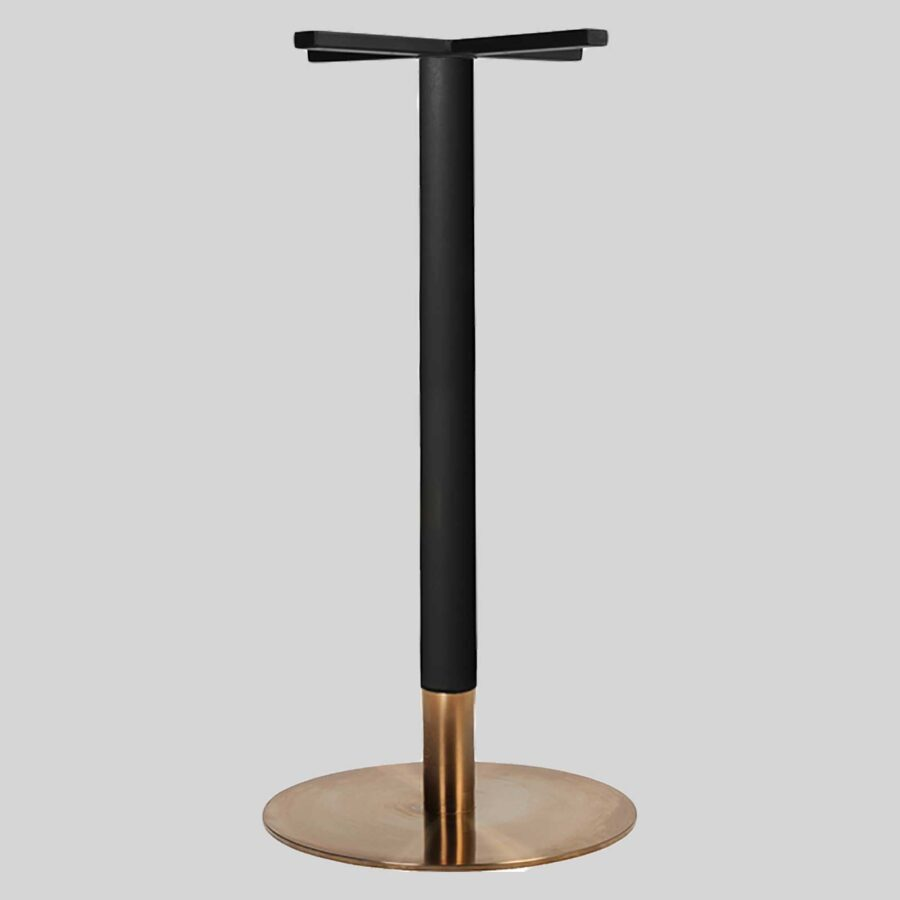 Carlita Bar - Black Column, Copper Collar, Copper Table Base