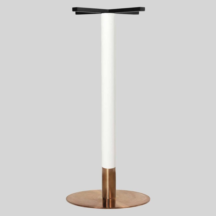 Carlita Bar - White Column, Copper Collar, Copper Table Base