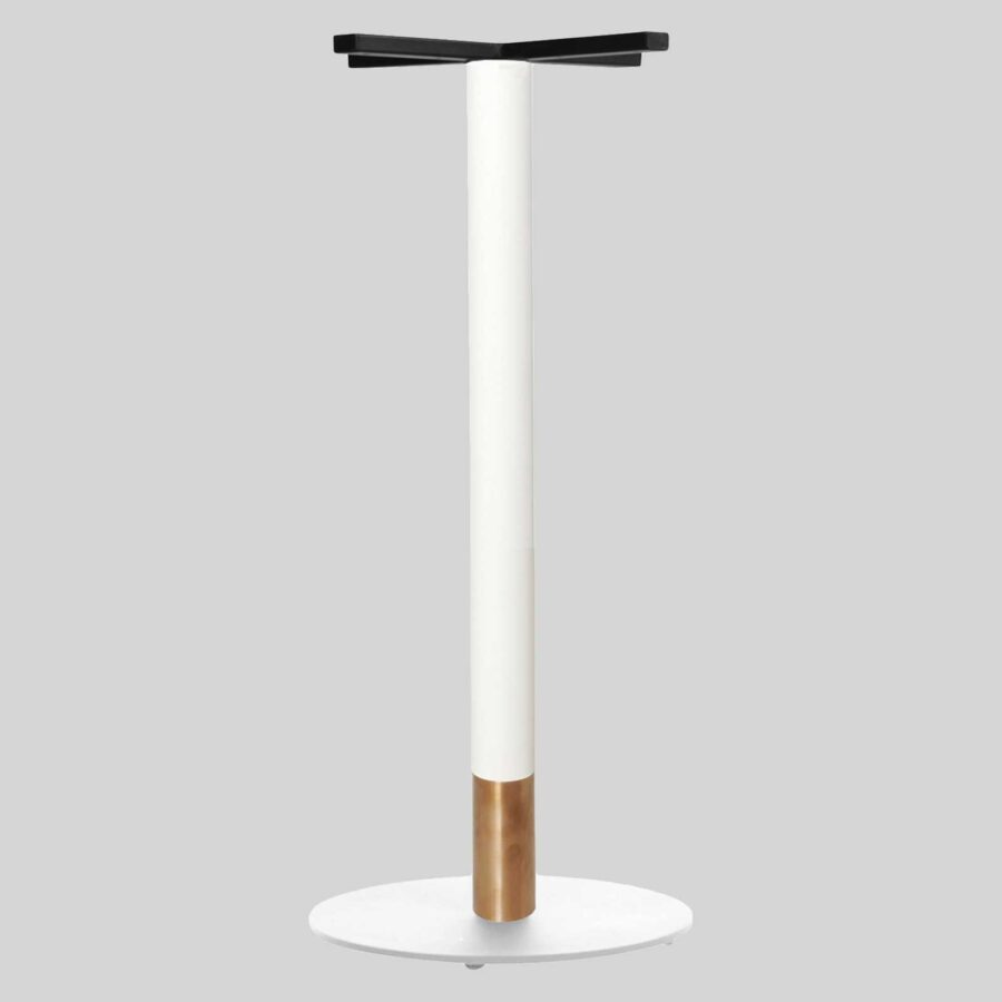 Carlita Bar - White Column, Copper Collar, White Table Base