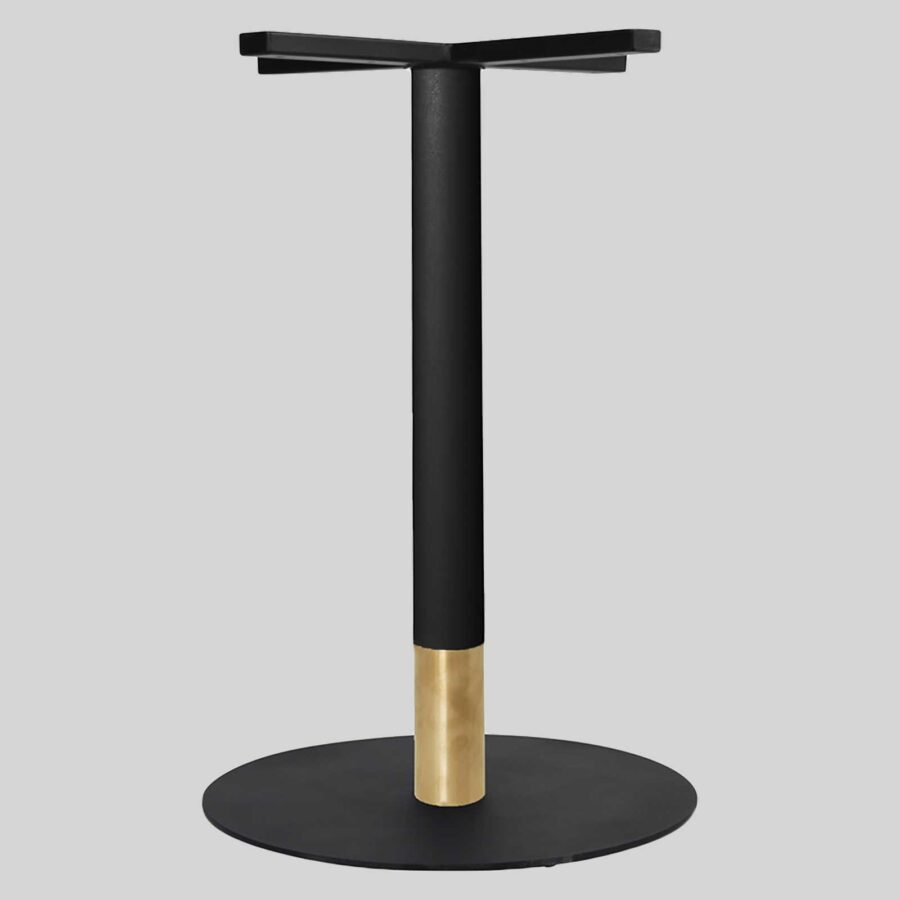 Carlita Dining - Black Column, Brass Collar, Black Table Base