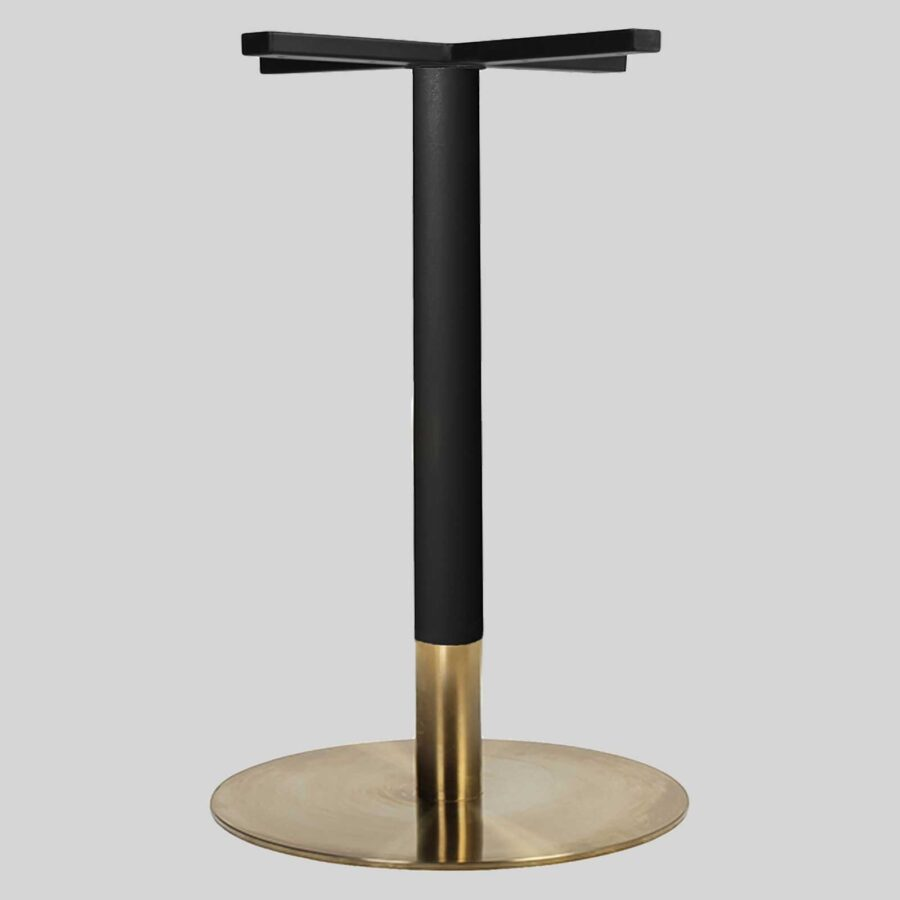 Carlita Dining - Black Column, Brass Collar, Brass Table Base