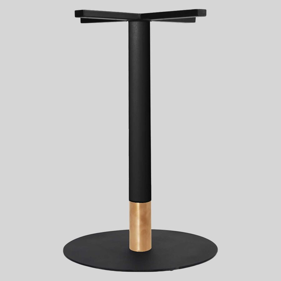 Carlita Dining - Black Column, Copper Collar, Black Table Base