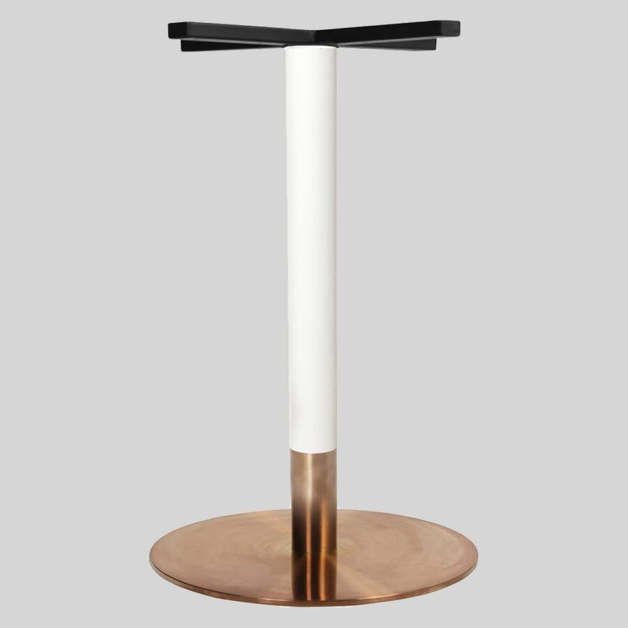 Carlita Dining - White Column, Copper Collar, Copper Table Base