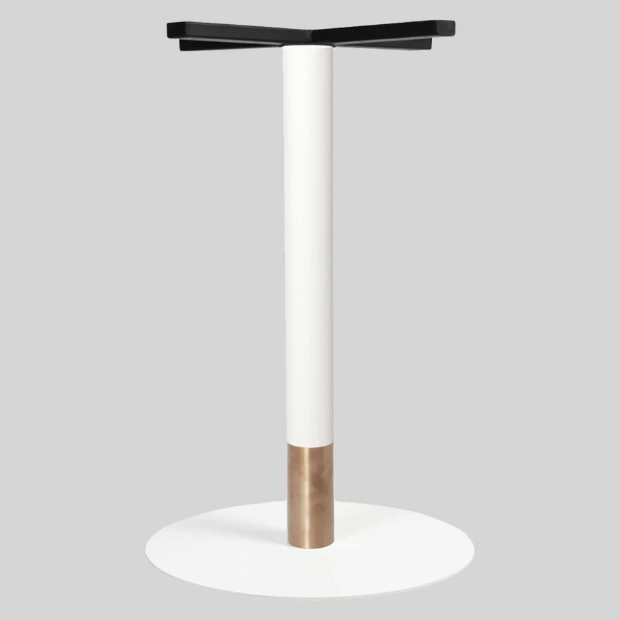 Carlita Dining - White Column, Copper Collar, White Table Base