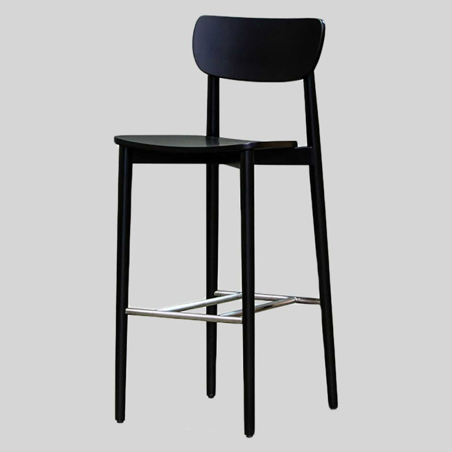 Stockholm Bar Stool - Black - Timber Seat