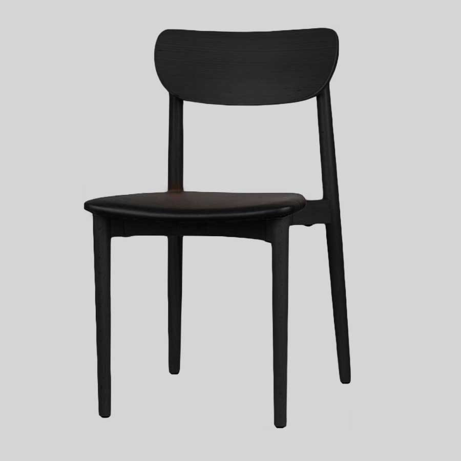 Stockholm Chair - Black - Black Vinyl Seat