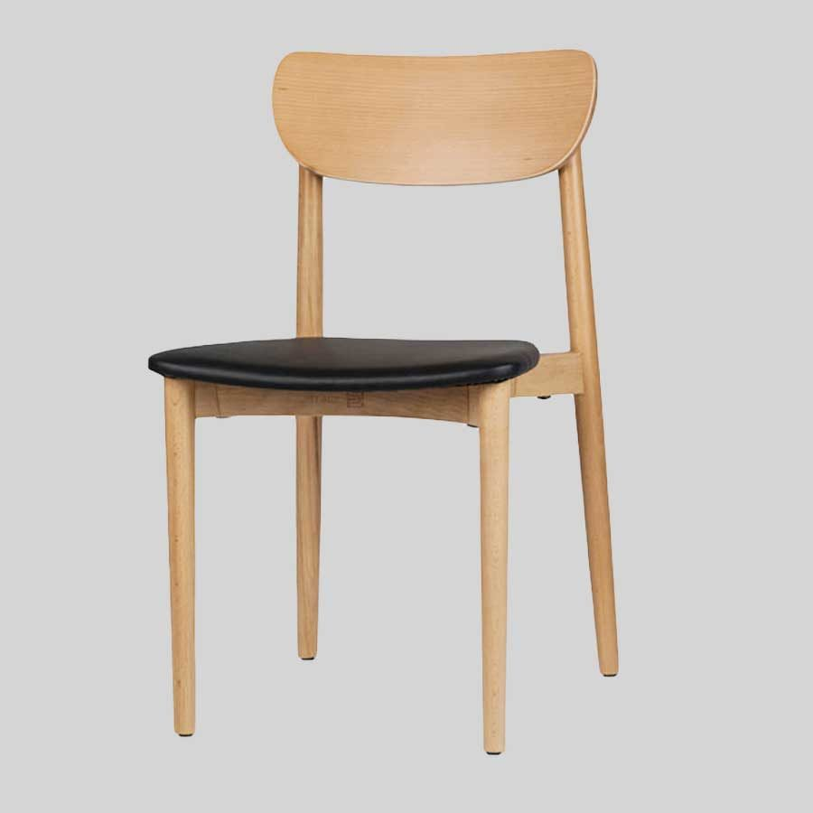 Stockholm Chair - Natural - Black Vinyl Seat