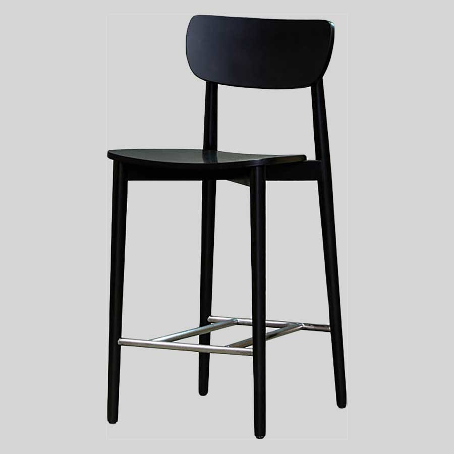 Stockholm Counter Stool - Black - Timber Seat