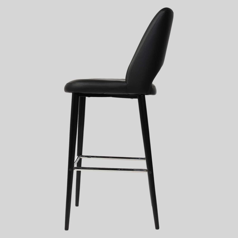 Mulberry Barstool with Backrest - Black Vinyl, Black Metal Frame