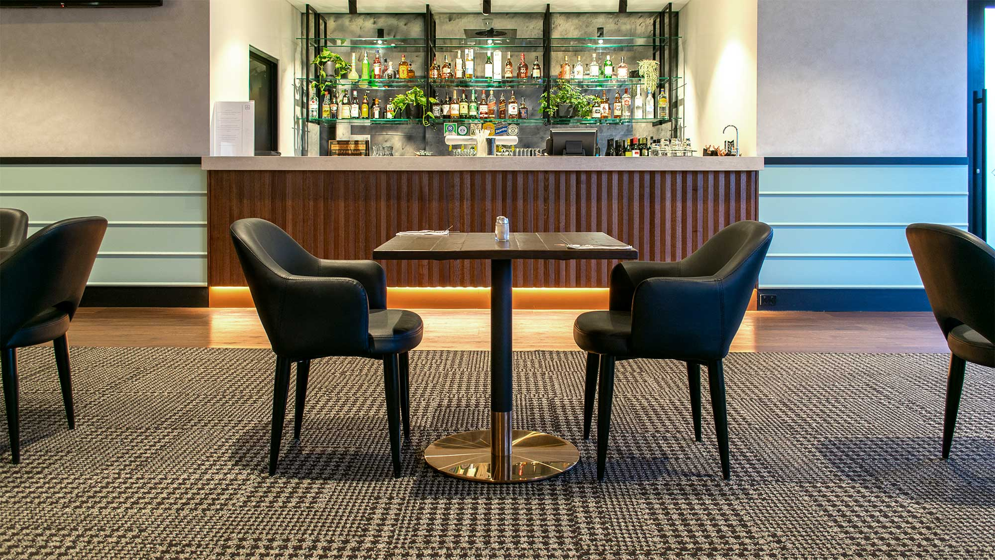 Bridgeway Hotel - Mulberry Armchairs, Carlita Copper Table Bases