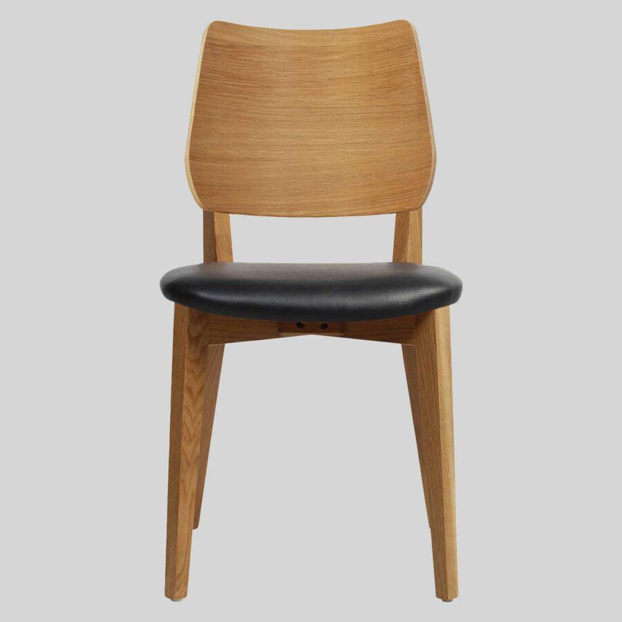 Kokoda Side Chair - Light Oak with Black Vinyl Seat