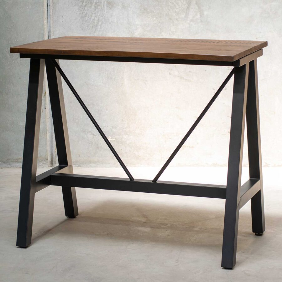 A-Frame (S) Bar Base - Black with Rustic Top