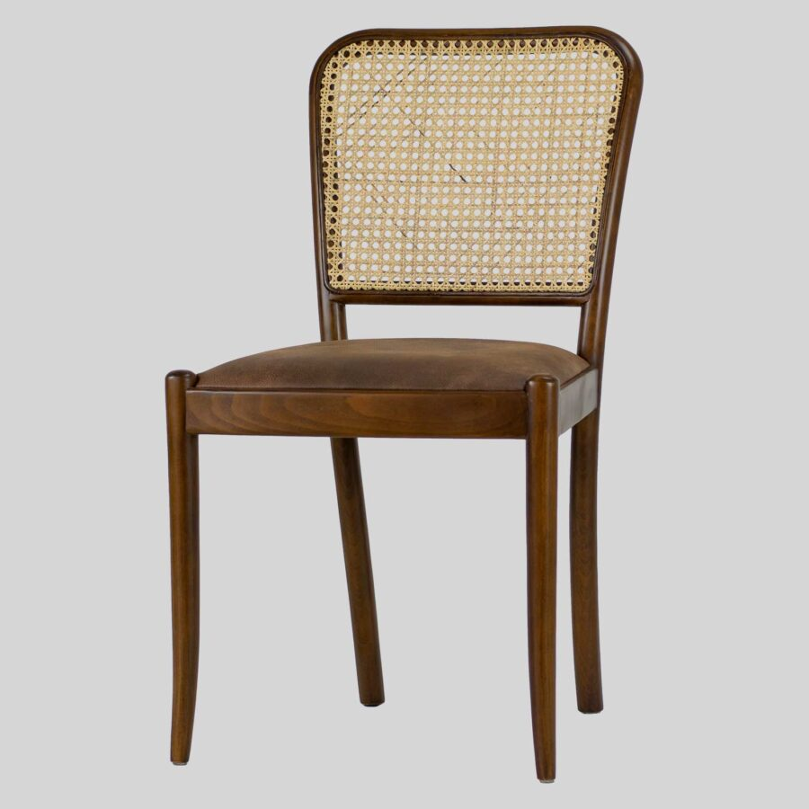 Sienna Wooden Cane Chair for Restaurants - Walnut/Bison