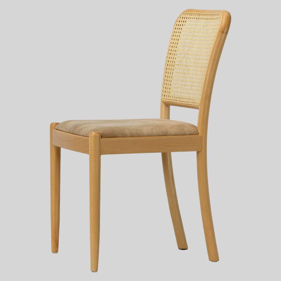 Sienna Wooden Cane Chair for Restaurants - Natural/Fawn-A
