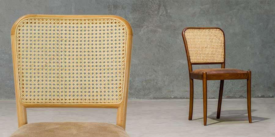 Sienna Wooden Cane Chair for Restaurants - Natural/Fawn, Walnut/Bison