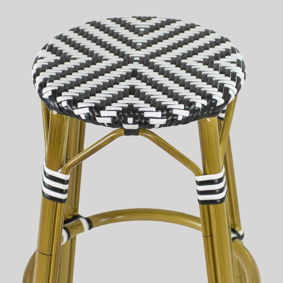 Jasmine Parisian Bar Stools - Cross Weave - Black/White