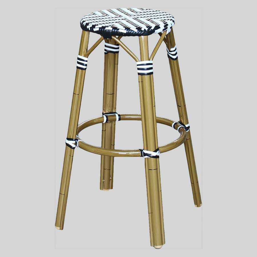 Jasmine Parisian Bar Stools - Cross Weave - Black/White