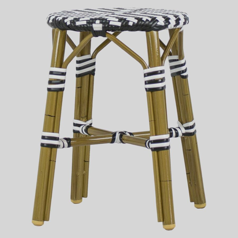 Jasmine Wicker Low Stools - Cross Weave - Black/White