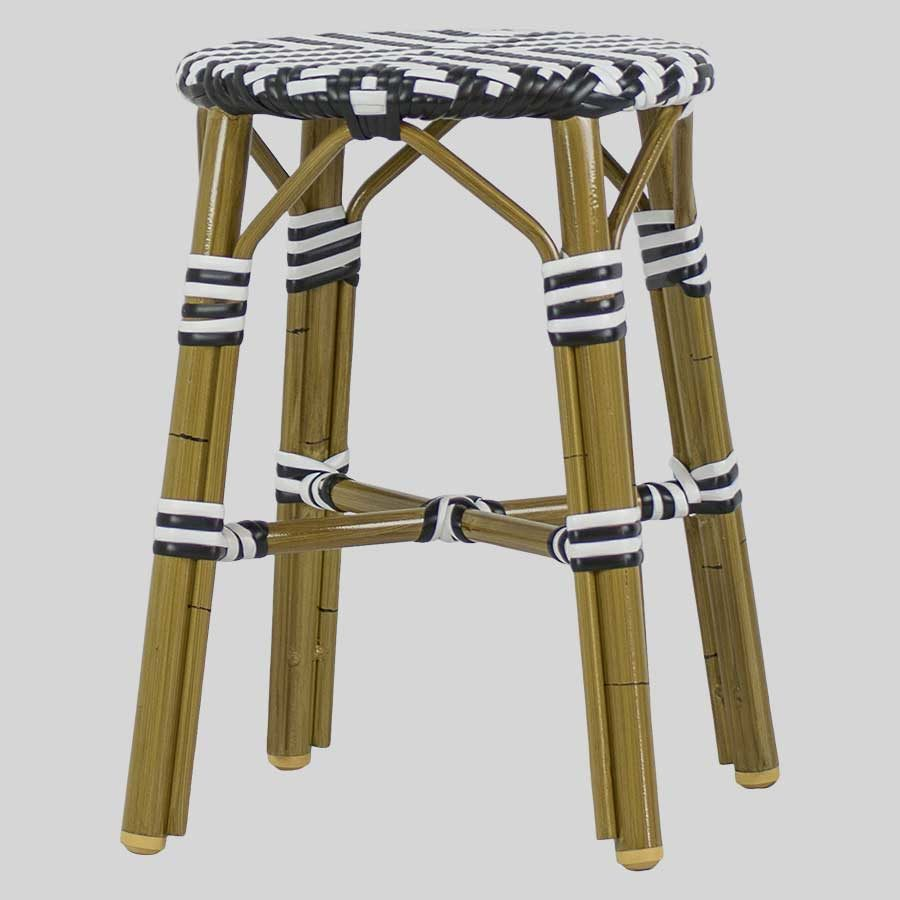 Jasmine Wicker Low Stools - Cross Weave - Black/White