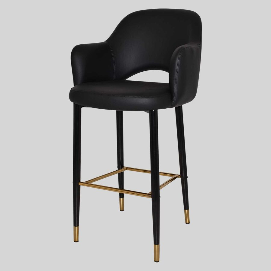 Mulberry Bar Stool with Arms - Black Metal 4 Leg with Brass Detail - Black Vinyl