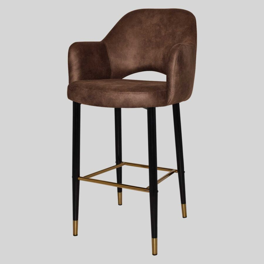 Mulberry Bar Stool with Arms - Black Metal 4 Leg with Brass Detail - Eastwood Bison