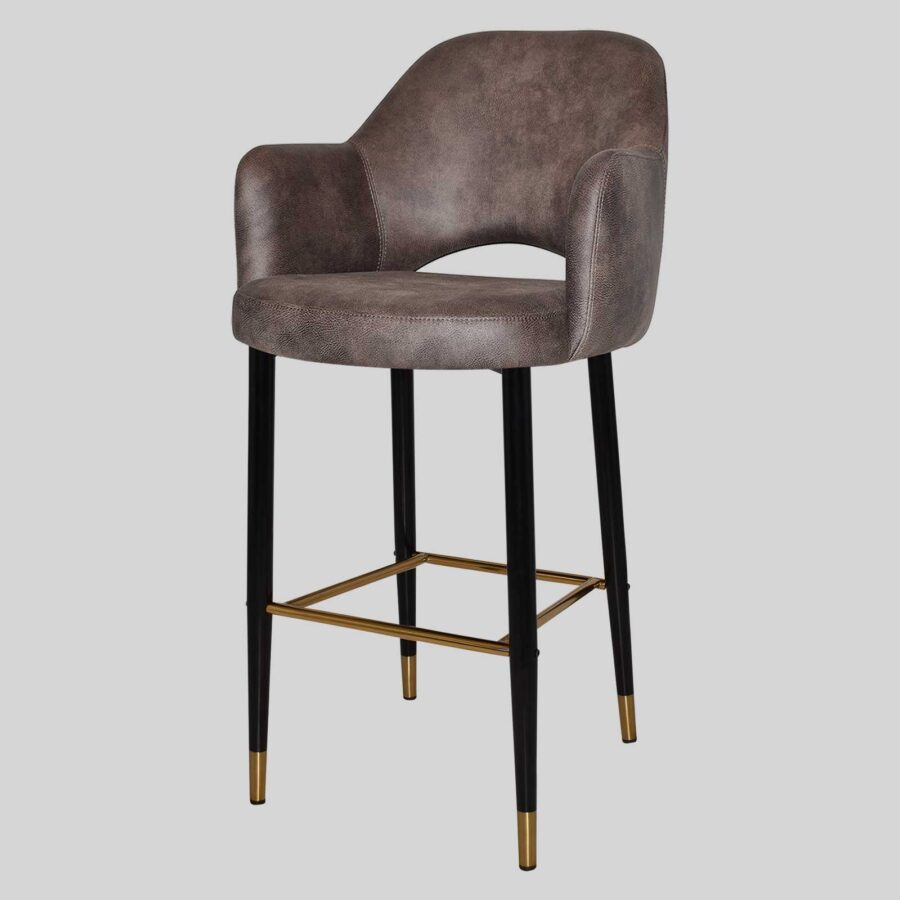 Mulberry Bar Stool with Arms - Black Metal 4 Leg with Brass Detail - Eastwood Donkey