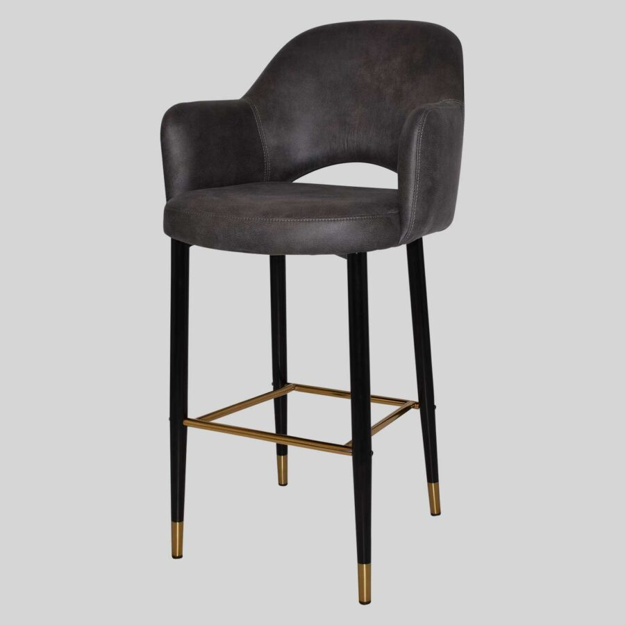 Mulberry Bar Stool with Arms - Black Metal 4 Leg with Brass Detail - Eastwood Slate