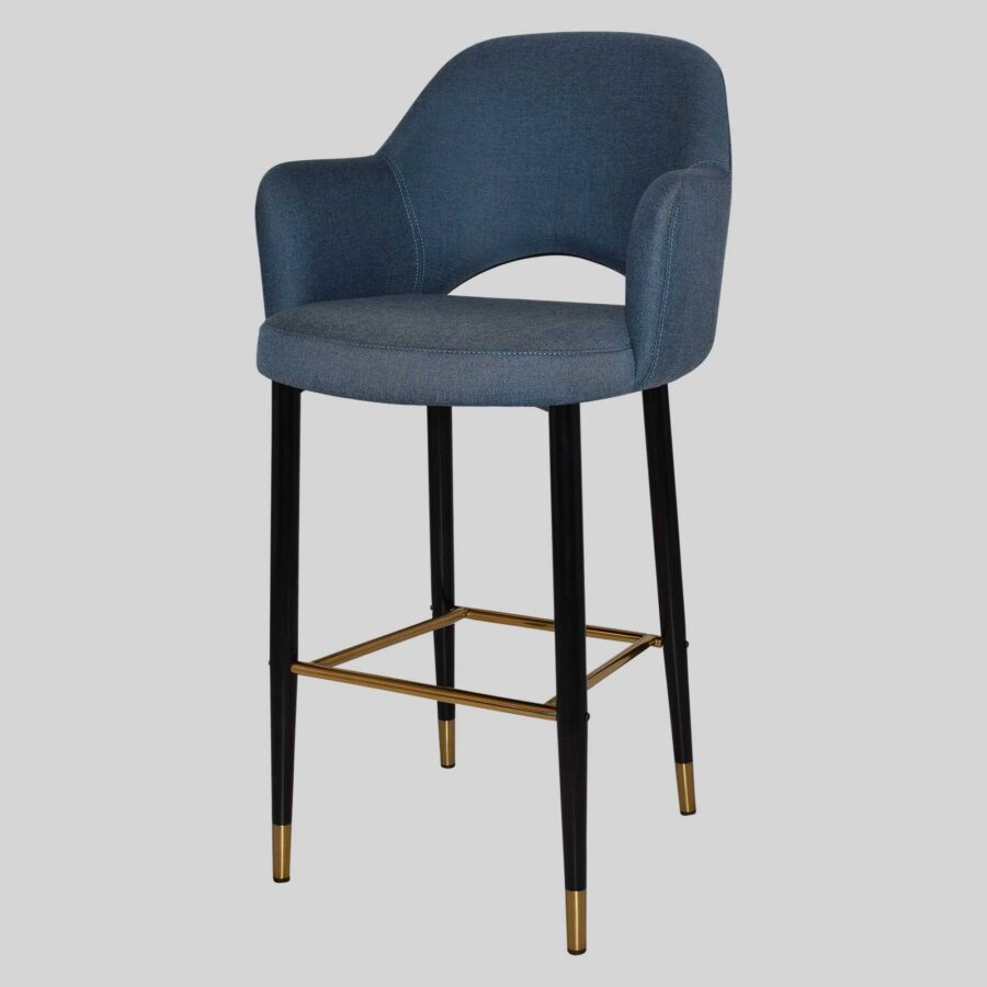 Mulberry Bar Stool with Arms - Black Metal 4 Leg with Brass Detail - Gravity Denim