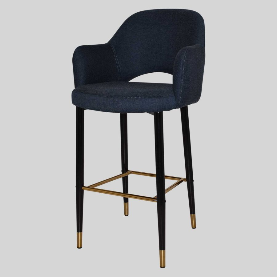 Mulberry Bar Stool with Arms - Black Metal 4 Leg with Brass Detail - Gravity Navy
