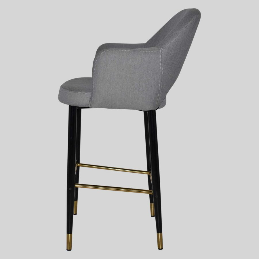 Mulberry Bar Stool with Arms - Black Metal 4 Leg with Brass Detail - Gravity Steel