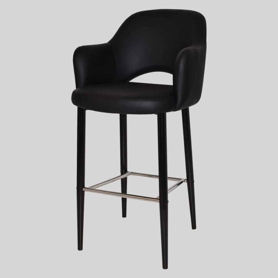 Mulberry Bar Stool with Arms - Black Metal 4 Leg Black-Viny