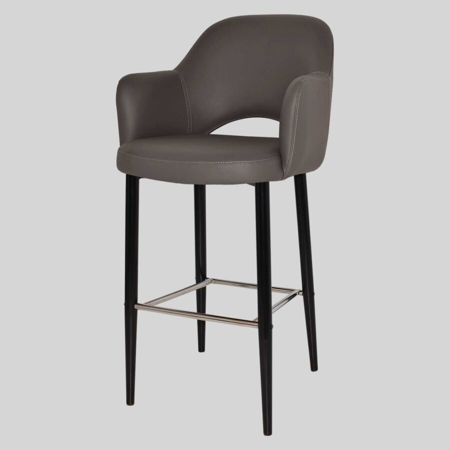 Mulberry Bar Stool with Arms - Black Metal 4 Leg Charcoal Vinyl