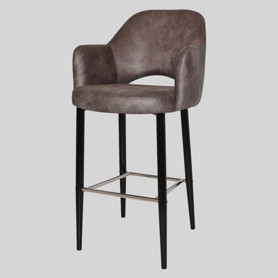 Mulberry Bar Stool with Arms - Black Metal 4 Leg Eastwood Donkey