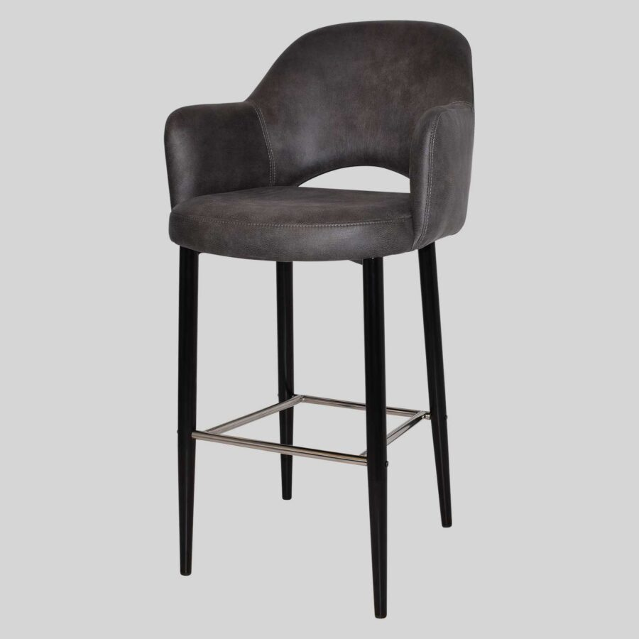 Mulberry Bar Stool with Arms - Black Metal 4 Leg Eastwood Slate